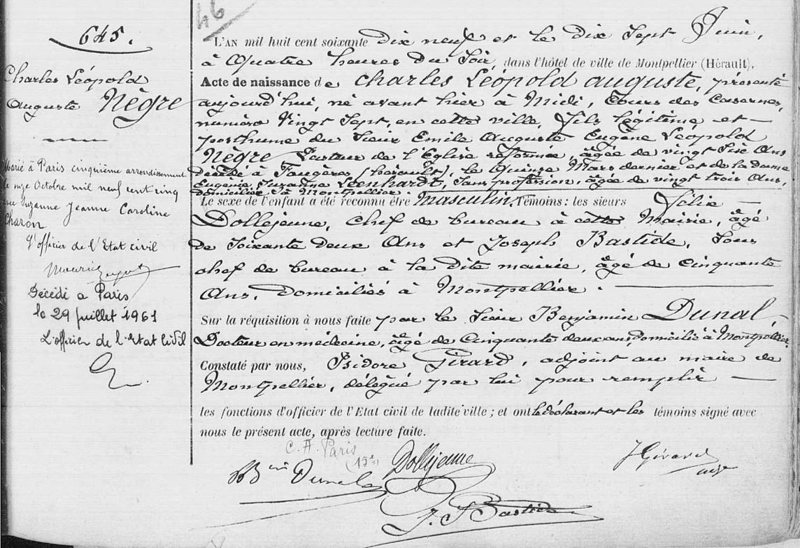 Acte De Naissance De Léopold Nègre 15 Juin 1879 27 Cours